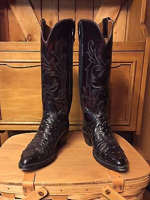 Vintage Lucchese Western Boots Ostrich Leather Zip Side Cowgirl Woman's 6.5A