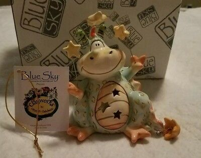 Ceramic Dragon Nightlight Blue Sky Clayworks by Artist Heather Goldminc