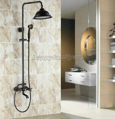 Black Oil Rubbed Brass Bathroom Rainfall Shower Faucet Set Tub Mixer tap yhg042