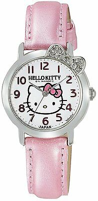Hello Kitty CITIZEN Q & Q Watch  Analog Leather Belt Made in Japan White × Pink