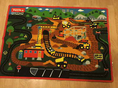 Tonka truck Construction Site Play Mat Carpet Nursery Rug HASBRO 44 x 31 CLEAN!