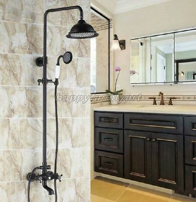Black Oil Rubbed Brass Bathroom Rainfall Shower Faucet Set Tub Mixer tap yhg043