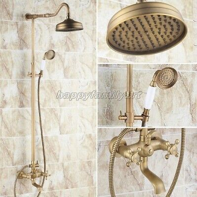 Antique Brass Wall Mounted Bathroom Rain Shower Faucet Set Tub Mixer Tap yrs104