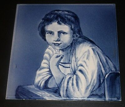 Vtg Dutch Holland Deep Blue Child Portrait Art Pottery TILE