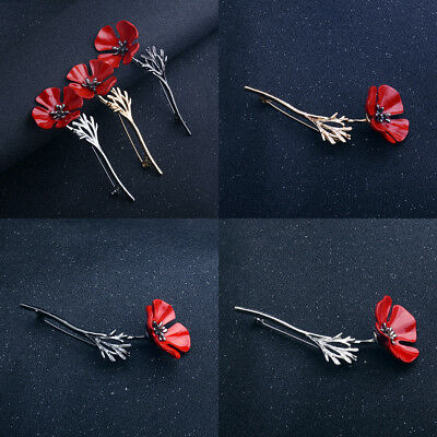 Suit Scarf Shawl Brooch Red Poppy Enamel Flower Lapel Pin Broach Badge Banquet