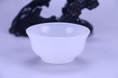 Superb Hand-carved Natural White Jade Bowl x158a