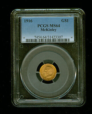 1916-P McKinley Gold Dollar Commemorative $1 PCGS MS 64 RARE LOW MINTAGE