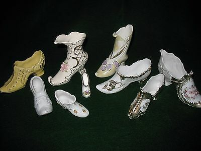 Group Of Fancy Porcelain Shoes, Boots, Slippers