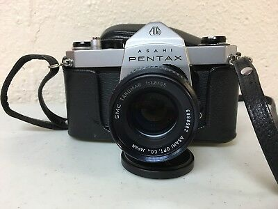 Vintage Pentax Asahi SP 500 35mm Camera With SMC Takumar 1:1.8/55mm Lens Works!