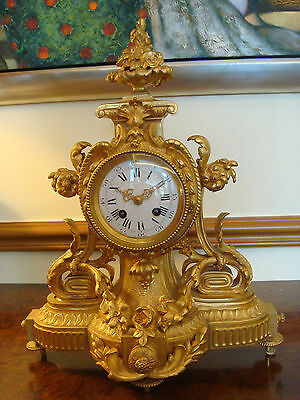 French Antique Gilded Bronze Clock Ca. 1870