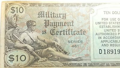 Series 481 $10 USA MPC Military Payment Certificate Scarce VG