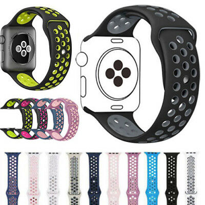 38/42mm Soft Silicone Replacement Sport Wrist Band For Apple Watch iWatch 3/2/1