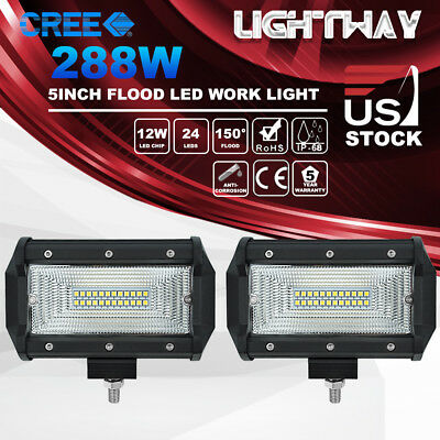 Pair 5inch 288W CREE LED Work Light Bar Flood Beam Driving Lamp Offroad 4WD SUV