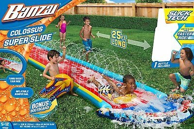 Banzai Colossus Super Slide Water Inflatable Air Spring Summer Body Board 25 Ft