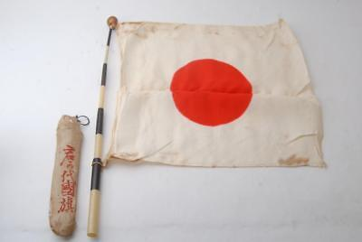 Japanese WW2 Army/Navy Seeing Off Rising Sun Cloth with pole, Bag #a5942