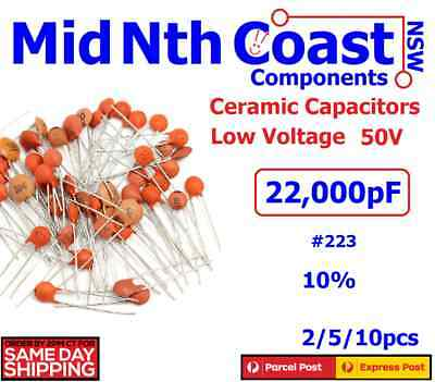 2/5/10pc 22000pf - 22nf (Code # 223) 50V Low Voltage Ceramic Disc Capacitors