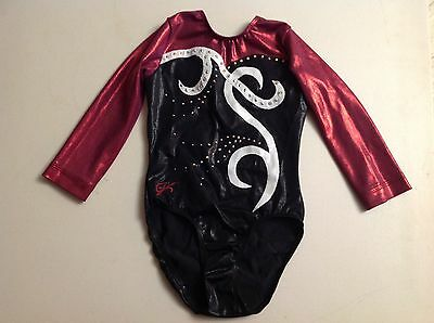 "CUSTOM GK Elite gymnastics leotard Child Small 18"" competition RHINESTONES"