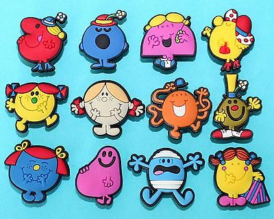 Mr Men Shoe Decorations Toys Little Miss 12 Charms Cupcake Cake Toppers NEW