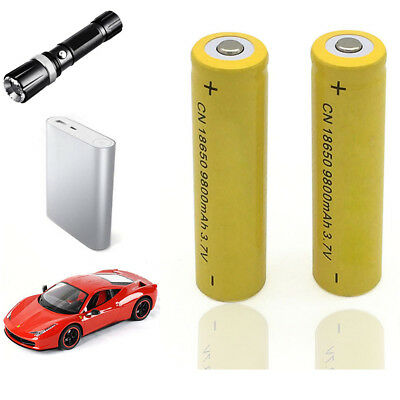 2Pcs 18650 Batteries 9800mAh 3.7V Rechargeable Battery for Torch Flashlight Wid