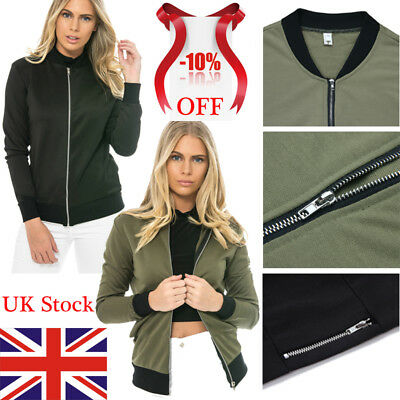 Womens MA1 Bomber Jacket Classic Style Zip Up Biker Vintage Coat Outwear UK 6-14