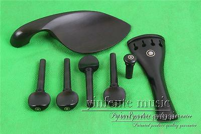 3set New 4/4 Violin Ebony parts, In 3Pcs chin rest end pin tailpiece &12pcs peg