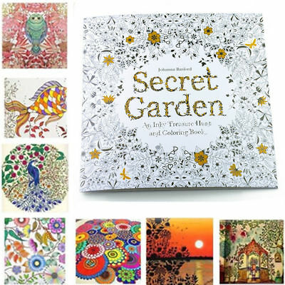 20 Pages English Secret Garden An Inky Coloring Painting Book For Children Adult