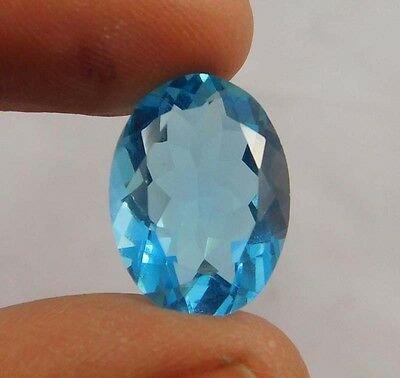 10 Cts.  Natural Dyed Faceted Swiss Blue Topaz Quartz Cut Loose Gemstone ANC557