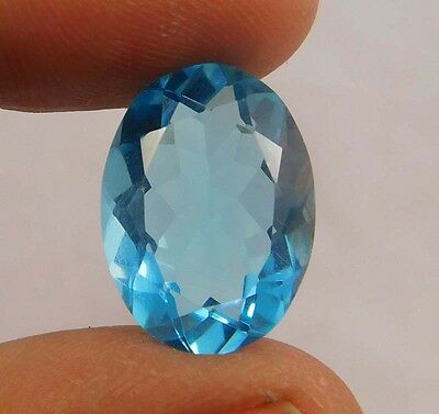 6 Cts.  Natural Dyed Faceted Swiss Blue Topaz Quartz Cut Loose Gemstone ANC495