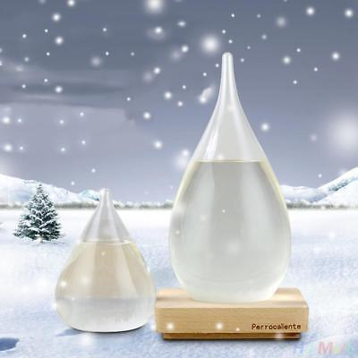 Xmas Weather Forecast Glass Crystal Drop Water Shape Storm Bottle Decor Art.