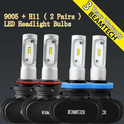 16000LM 100W 6500K 9005+H11 LED Headlight Bulbs Conversion Kit High Low Beam Set