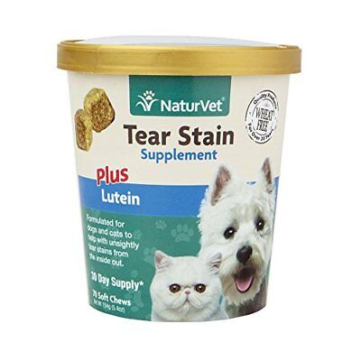 NaturVet Tear Stain Supplement Plus Lutein for Dogs Cats 70 ct Soft Chews
