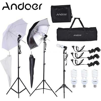 Andoer 2*4m Light stand+3*45W Bulb & Socket+Soft parapluie Photo Studio Kit G9C4