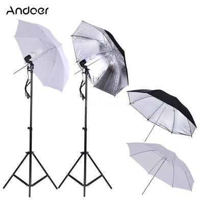 Andoer LumièRe Light2*45W Ampoule+Socket Photo Studio Umbralle Lighting Kit D0Y8