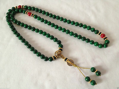 "34""china tibet tibetan malachite buddhist buddha worry prayer bead mala brace"