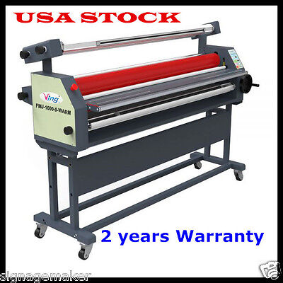 """USA 110V 63"""" Full-auto Large Roll Heat Assisted Cold Laminator Laminating+stand"""