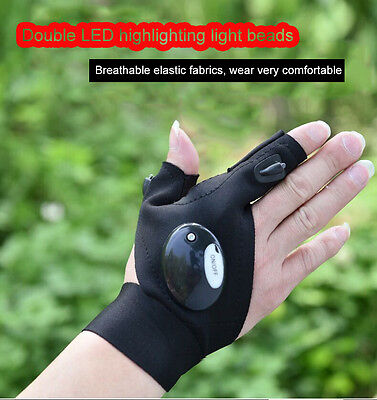 Outdoor Fishing Strap Fingerless Gloves LED Flashlight Torch Cover Camping