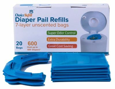 Diaper Pail Snap Seal and Toss Refill Bags 600 Count 20 Pack Compatible Munchkin
