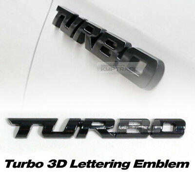 Metal Gloss Black Turbo 3D Logo Lettering Emblem Badge 1EA for All Vehicle