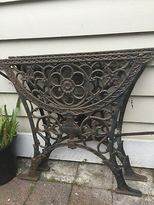 Pair Of Heavy Cast Iron Vintage Garden Table Ends