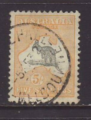 1929 5/- Grey & Yellow Small Multiple wmk Roo Well Centred & Fine used, SG 111
