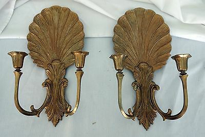 Vintage Brass seashell candle wall sconces pair