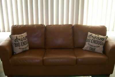Large Sturdy 3 seater camel coloured Couch, Wooden legs,