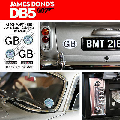 Build Your Own James Bond 1:8 Aston Martin Db5 Self Adhesive Gb Plate & Tax Disc