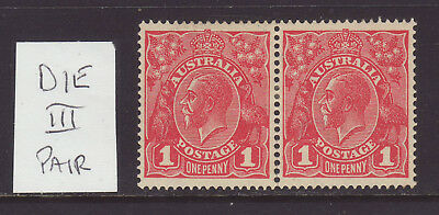 KGV 1918 1d Rose Carmine DIE 3-3 Pair MVLH, Very Clean & No Faults, SG 53 pair
