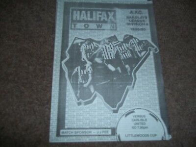 Rare Halifax Town V Carlisle United Littlewoods Cup 4 Page Emergency Issue 1989
