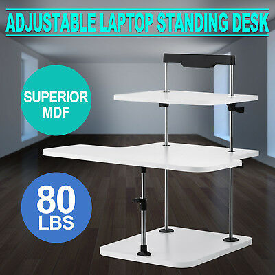3 Tier Adjustable Computer Standing Desk Stand Up Portable Easy Install GOOD