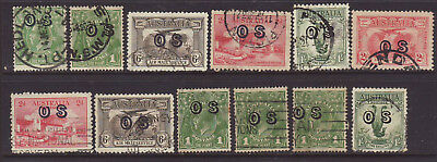 Australian Group of 12 OS Overprints from the 1930's Era used
