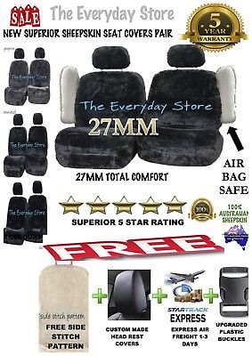 Sheepskin (Lambswool) Car Seat Covers Side Stitch Design 27MM 5 Star Airbag Safe