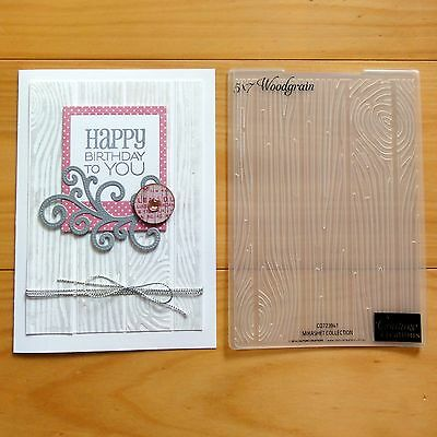 """CLEARANCE"" COUTURE CREATIONS WOODGRAIN EMBOSSING FOLDER 5""x7"" - BNIP"