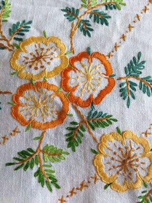 Vintage Hand Embroidered Linen Table Cloth. Lovely Stitching